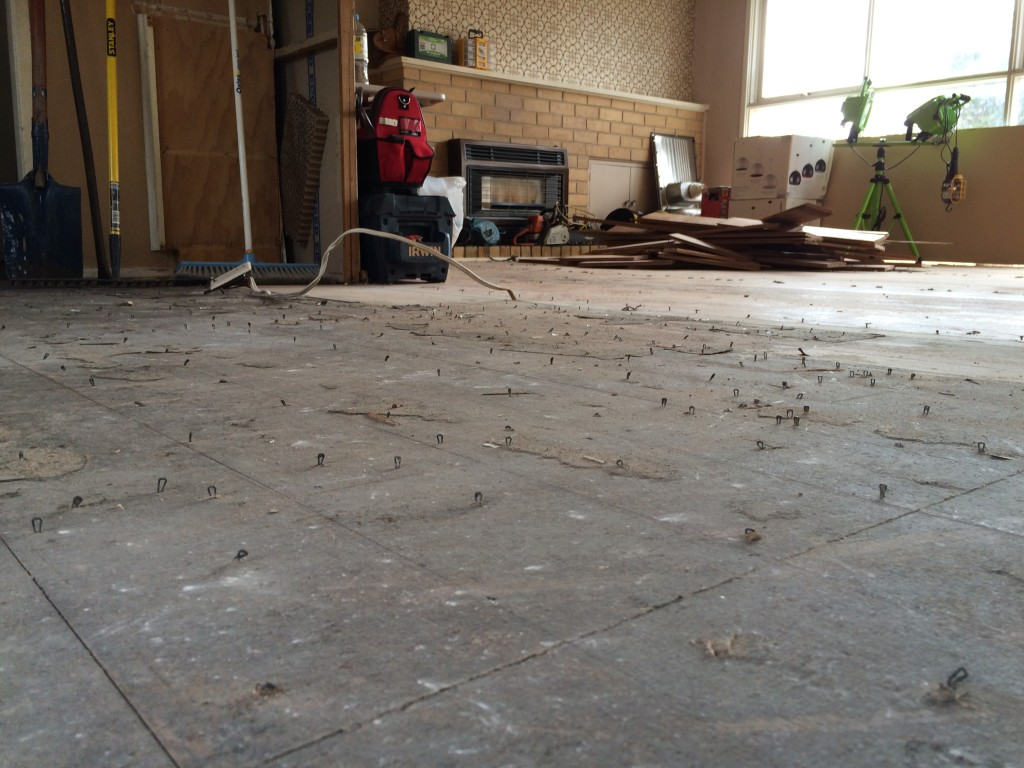 Renovation Doldrums - Removing Floor Staples before Sanding Floors - SheBuilds